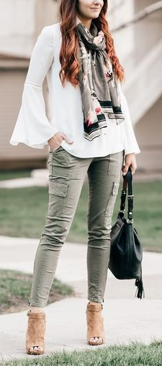 Bell sleeve top + army green cargo jeans