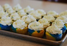 Blue and Gold cupcakes.  Can't wait to make these for Chelsea's teammates.  This is their colors.  Go Lady Bison!!!!
