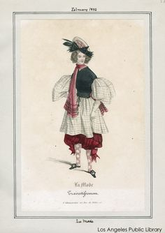 Fashion plate for Masquerade costume, 1835. Los Angeles Public Library. More info: http://twonerdyhistorygirls.blogspot.com/2012/06/fashion-goes-wild-fancy-dress-in-1830s.html