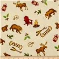 Lodge Life Flannel All Over Toss Bears/Canoes Cream