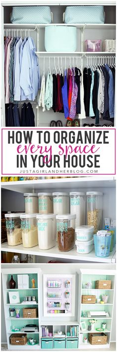 Organisation tips and tricks for every room of the home, using various storage solutions to get the home sorted!