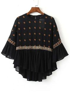 SheIn offers Black Crew Neck Embroidered Sheer Blouse & more to fit… Kurti Designs Party Wear, Kurta Designs, Blouse Designs, Stylish Dresses For Girls, Trendy Outfits, Frock Fashion, Fashion Dresses, Fashion News, Latest Fashion