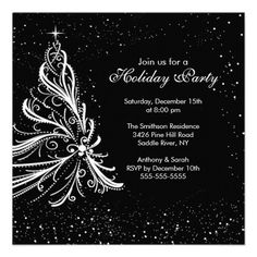 Black White Christmas Holiday Party Invitation   Click on photo to purchase. Check out all current coupon offers and save! http://www.zazzle.com/coupons?rf=238785193994622463&tc=pin