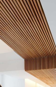 20 Stunning Basement Ceiling Ideas Are Completely Overrated It is pretty easy to implement your brilliant ideas. You can only choose which idea you like the mo Wood Slat Ceiling, Wood Slat Wall, Wooden Ceilings, Wood Slats, Wooden Ceiling Design, Wood On Ceiling Ideas, Bulkhead Ceiling, Basement Ceiling Options, Basement Flooring