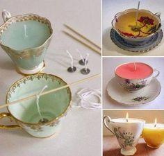 Zelf kaarsen maken met oud servies
