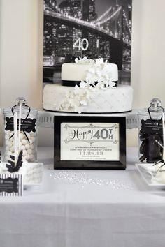 Stylish Black And White 40th Birthday Party With Such Great Ideas Via Karas