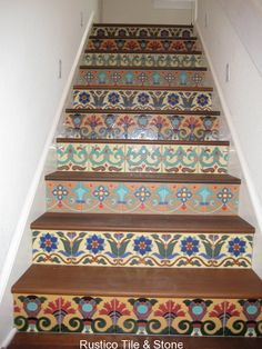 Talavera tiles on stair risers Tiled Staircase, Tile Stairs, Staircases, Painted Stairs, Painted Floors, Painted Tiles, Wooden Stairs, Stair Art, Small Space Interior Design