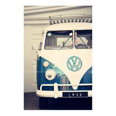 Vintage vw combi campervan beach surf blue white Retro Love  - 12x8 - Fine Art Photography. $22.00, via Etsy.