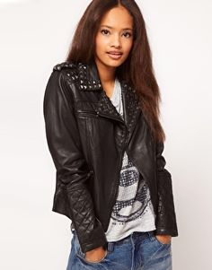 ASOS Studded Leather Biker Jacket