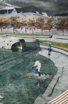 """At the urban scale, Rotterdam is looking into rolling out """"water squares,"""" which are hollowed-out basins designed to capture and store rainwater. Designed by Dutch urban design firm De Urbanisten"""