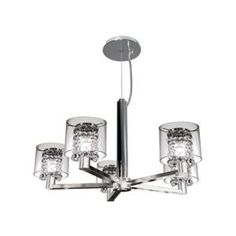 BAZZ Glam-Topaz Collection 5-Light Hanging Chrome Chandelier-DISCONTINUED-LU3819CB at The Home Depot