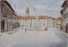 E. Besozzi pitt. 1953 Paesaggio acquerello su cartoncino cm. 22,5x30 arc. 775