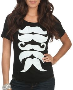 I think I might get this one also for my sister and me!  Multi Stache Hachi Tee from WetSeal.com