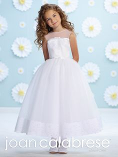 Sweet Flower Girl Dress - Joan Calabrese for Mon Cheri - 116361 - Sleeveless satin, tulle and lace tea-length A-line dress with illusion jewel neckline, satin bodice accented with lace and satin band with center front bow, matching natural waistband with bow, back covered buttons, full dirndl tulle skirt with wide lace hem band.    Color:White
