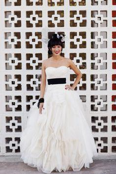Beautiful wedding dress with a black sash. Love it. *