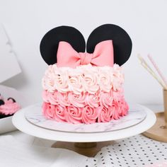 Minnie Mouse Birthday Theme, 1st Birthday Cake For Girls, Fruit Birthday Cake, 2nd Birthday, Bolo Mickey E Minnie, Mickey Cakes, Minni Mouse Cake, Mini Mouse Baby Shower, Cake Designs For Girl
