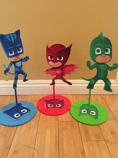 PJ Masks Inspired Centepiece, Catboy, Gekko, Owlette Birthday centerpieces, PJ masks party decorations by SOUTHFLOWER Superman Party, Superhero Birthday Party, 4th Birthday Parties, Boy Birthday, Pj Mask Party Decorations, Pjmask Party, Festa Pj Masks, Birthday Centerpieces, Baby Shower