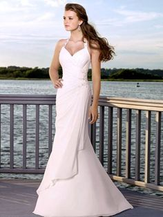White Halter Mermaid Wedding Dress i really like this one!