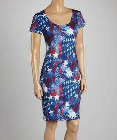 Loving this Red & Blue Stars & Stripes Graffiti Cap-Sleeve Dress - Women on #zulily! #zulilyfinds