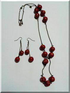 Parure Sautoir-Boucles d'Oreilles de perles bordeaux jaune et rouge : Parure par aliciart