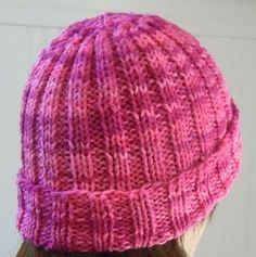Hat knitting pattern; Rib knit hat