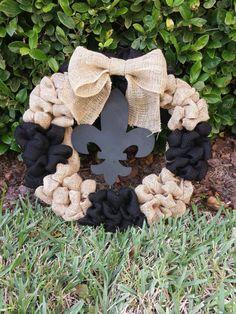 New Orleans Saints Wreath Black & Tan Burlap Black by MommaDuTreil, $60.00