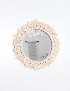 Miroir rosace en macramé Macrame Wall Hanging Tenture