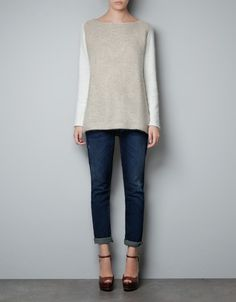 BEIGE SWEATER WITH WHITE SLEEVES - Knitwear - Woman - ZARA United States