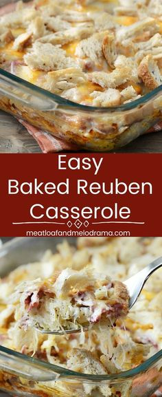 Easy Baked Reuben Casserole - A quick and easy dinner made with corned beef, sauerkraut, Swiss cheese, Thousand Island dressing and rye bread all baked in one pan. Cooks in just 30 minutes with easy prep! from Meatloaf and Melodrama #easy #comfortfood
