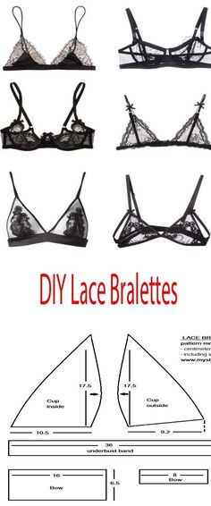MAke your own bralettes - Bralettes Bras - Ideas of Bralettes Bras Diy Clothes And Shoes, Diy Clothing, Sewing Clothes, Custom Clothes, Diy Bralette, White Lace Bralette, Bralette Pattern, Bra Pattern, Lingerie Patterns