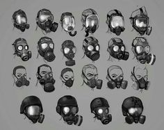 View an image titled 'Mask Designs Art' in our Resident Evil: Operation Raccoon City art gallery featuring official character designs, concept art, and promo pictures. Gas Mask Drawing, Gas Mask Art, Masks Art, Gas Masks, City Art, Armor Concept, Concept Art, Mask Design, Design Art