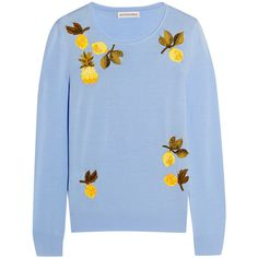 Altuzarra Harding embellished merino wool sweater ($777) ❤ liked on Polyvore featuring tops, sweaters, shirts, sky blue, sequin heart shirt, blue sequin shirt, heart sweater, embellished sweater and blue shirt