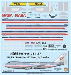 1:144 NASA Bare Metal Shuttle Carrier 747