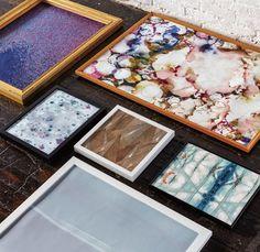 Wallpaper as art: Consider framing abstract wallpaper panels in custom frames for your  home interiors.