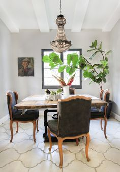 Spanish House - Emily Henderson  Fiddle leaf fig tree in a dining room.