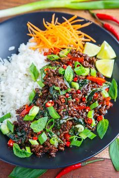 Thai Basil Beef With Ground Beef Shallots Red Pepper Garlic Chiles Fish Sauce Palm Sugar Lime Juice Basil Green Onions Thai Basil Beef, Thai Basil Recipes, Thai Food Recipes, Fresh Basil Recipes, Asian Recipes, Healthy Recipes, Tasty Thai, Clean Eating, Healthy Eating