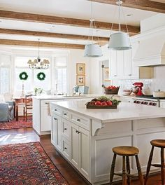 Lovely kitchen - beams, love the white & wood with the Oriental rugs: NINE + SIXTEEN: Our Home