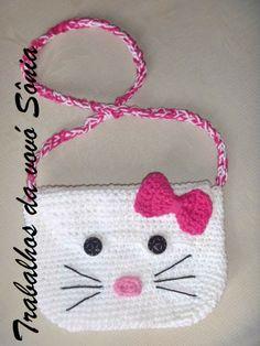 Trabalhos da vovó Sônia: Bolsa infantil Hello Kitty - croché                                                                                                                                                      Mais