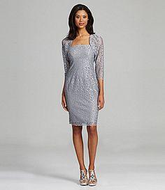 JS Collections Metallic Lace Bolero Jacket Dress #Dillards