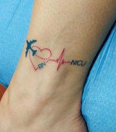 Travel Nurse Tattoo: heart, plane, RN, NICU, heartbeat