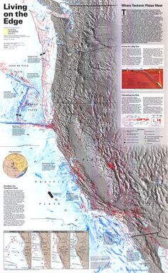 """Living on the Edge"" Map    • Active faults, faults not considered to be active, subduction zones  • Relief map of the western US, showing locations of faults, earthquakes, and volcanoes   • Volcanoes active in the past 10,000 years  • Earthquake epicenters, and earthquake magnitudes 1964-1994  • An inset explaining how the Transform Fault shaping much of the current California was formed"