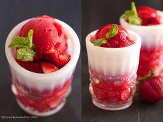 Homemade strawberry sorbet.