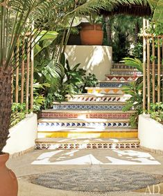 Guide to Using Colors for Good Feng Shui Lovely and colourful tile steps in a flowing motion - excellent feng shui!Lovely and colourful tile steps in a flowing motion - excellent feng shui! Tile Steps, Outdoor Stairs, Outside Stairs, Patio Stairs, Stairway To Heaven, Outdoor Living, Outdoor Decor, Outdoor Tiles, Spanish Style