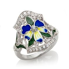 """Xavier .38ct Absolute™ Pavé and Enamel Sterling Silver """"Blue Violet"""" Ring at HSN.com"""