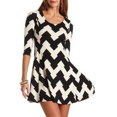 Black and White Chevron Skater Dress by Charlotte Russe. Buy for $29 from Charlotte Russe