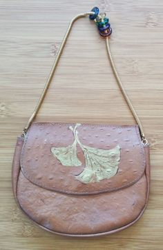 Vintage 70s Italian Forenza 100% Genuine Leather Tan Painted Purse with Beaded Chain Handle