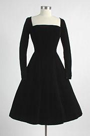 1950's Auerbach's Black Velvet Evening Dress