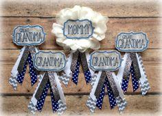 Navy & Grey Baby Shower Badge - Custom Order : EllieKattCollection.Etsy.com