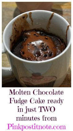 Molten Chocolate Fudge Mug Cake ready in just 2 minutes from Pinkpostitnote.com