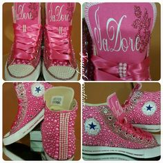 Custom bling and pearl converse shoes  blingshoesdiy Bedazzled Shoes 93001b9f7